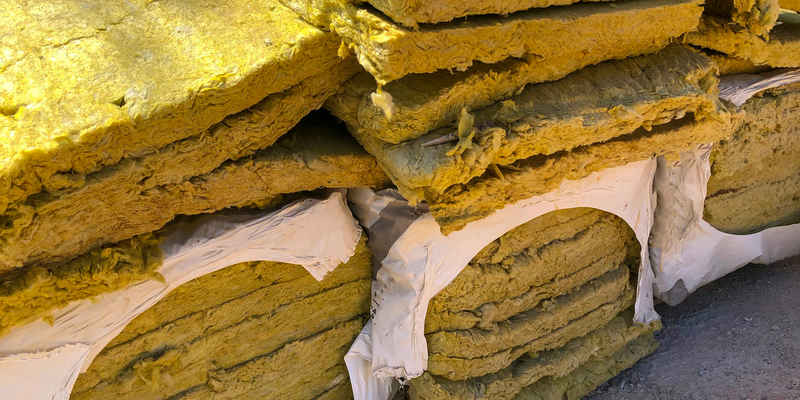 Piled rockwool. panels of mineral wool. thermal insulation material